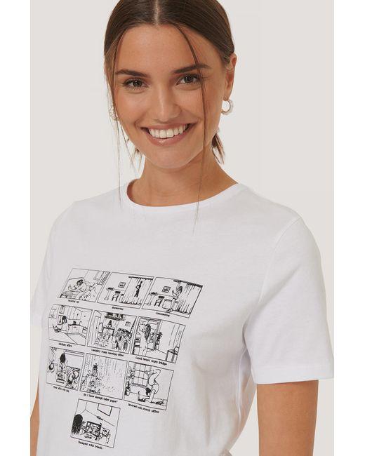 NA-KD T-shirt Met Print in het White