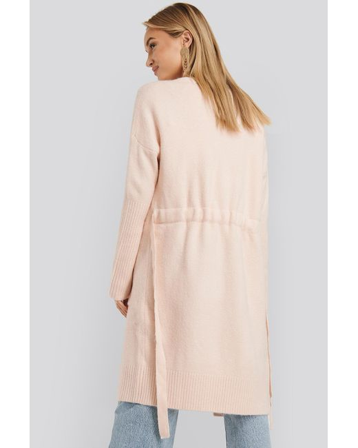 NA-KD Chunky Knit Long Cardigan in het Pink