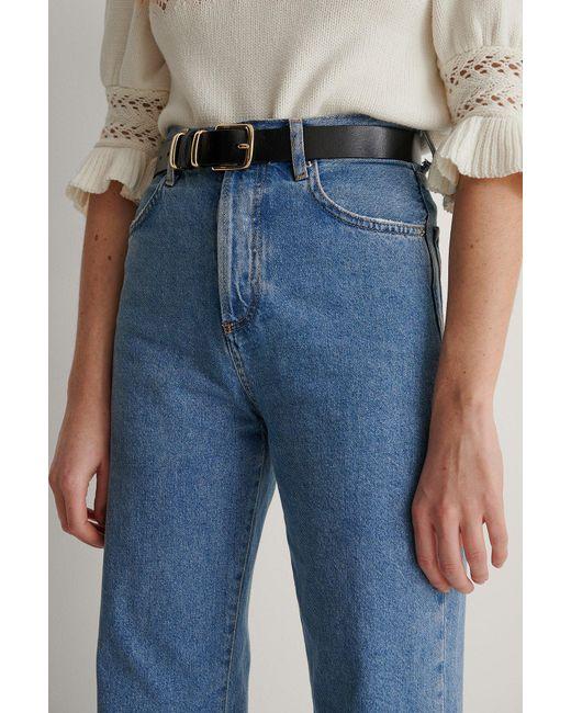 NA-KD Black Vintage Look Leather Belt