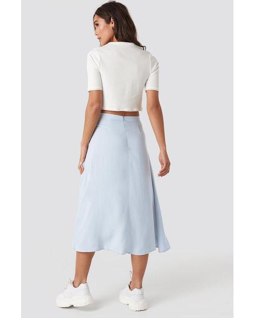 NA-KD Side Split Midi Skirt in het Blue