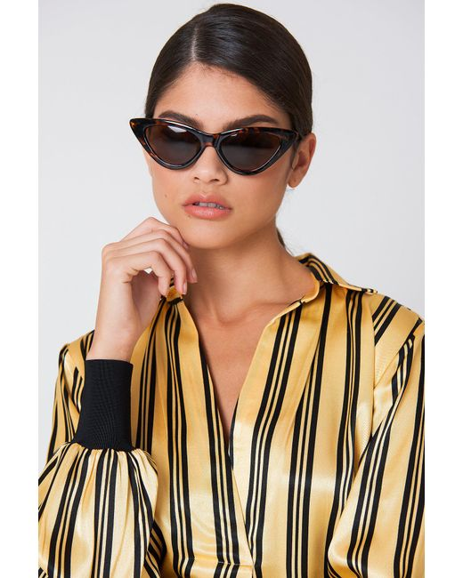 NA-KD - Black Pointy Cat Eye Sunglasses Turtle - Lyst