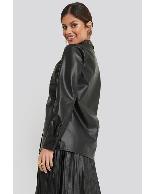 NA-KD Black Trend PU Pocket Shirt