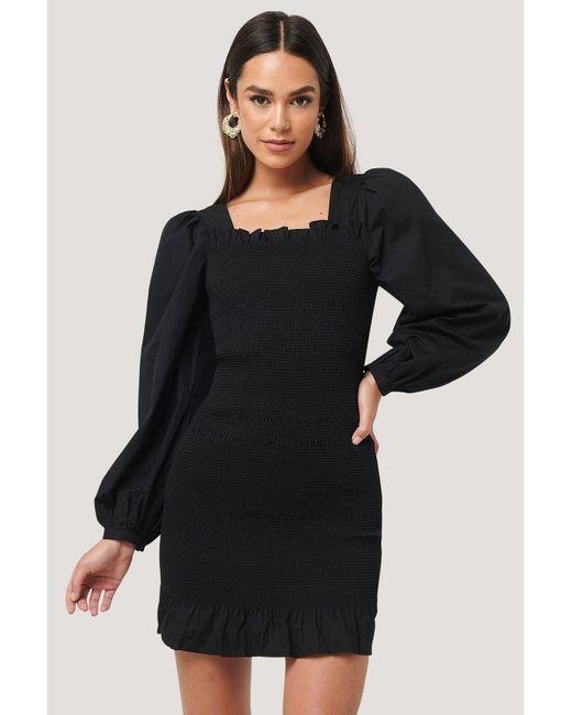NA-KD Black Trend Smocked Mini Dress