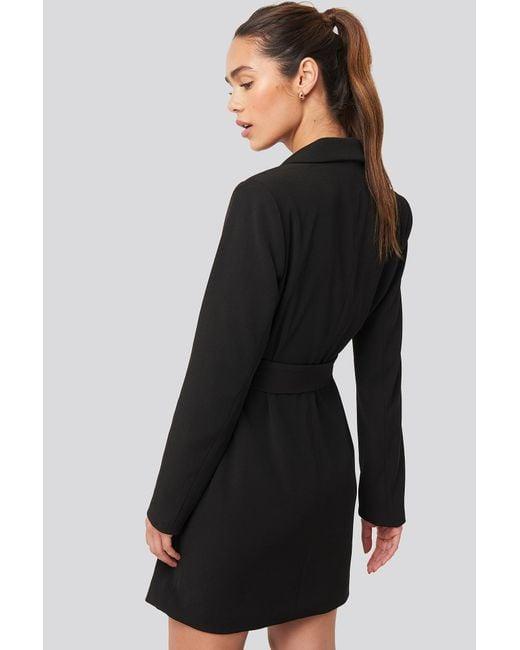NA-KD Black Trend Tie Waist Short Blazer Dress
