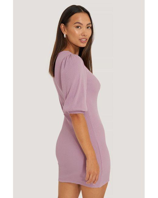 Puff Half Sleeve Ribbed Mini Dress NA-KD en coloris Purple