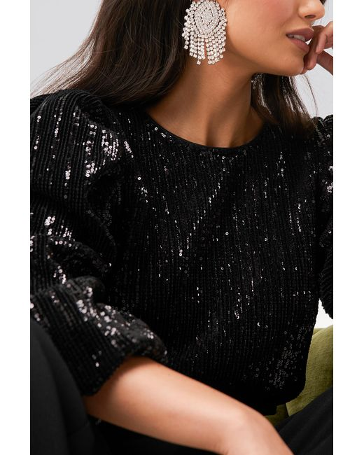 NA-KD Black Party Puff Sleeeve Sequin Blouse