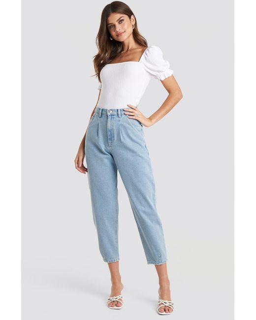 NA-KD Blue Trend Cropped Balloon Leg Jeans