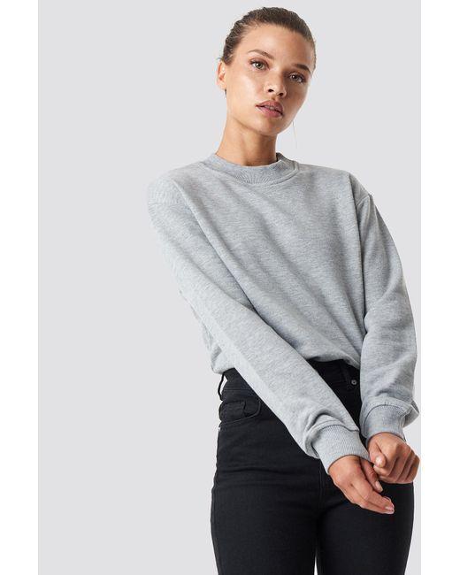 NA-KD - Gray Basic Sweater Grey Mel - Lyst