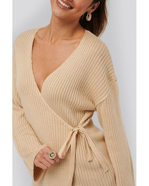 NA-KD Natural Beige Ribbed Overlap Tie Sweater