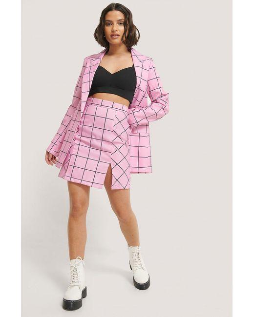 NA-KD Pink Side Slit Mini Skirt
