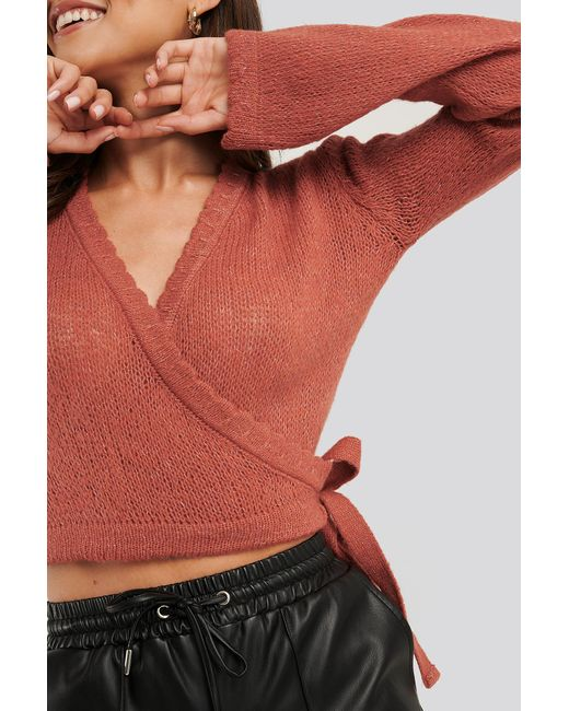 Overlap Rib Detail Knitted Sweater NA-KD en coloris Multicolor