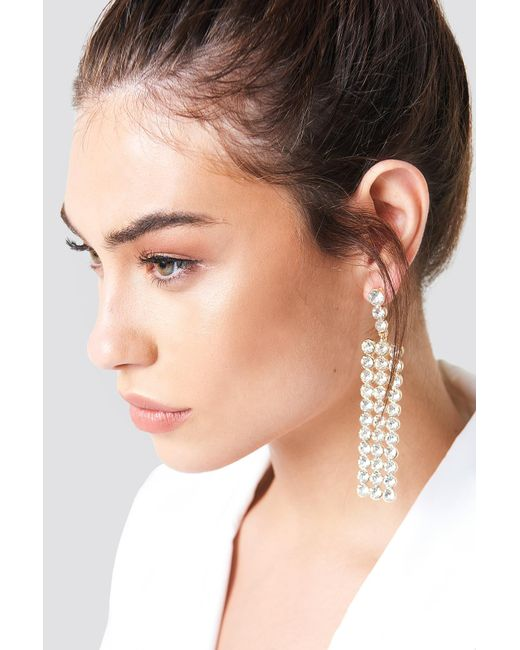 NA-KD - Metallic Stiff Hanging Rhinestone Earring - Lyst