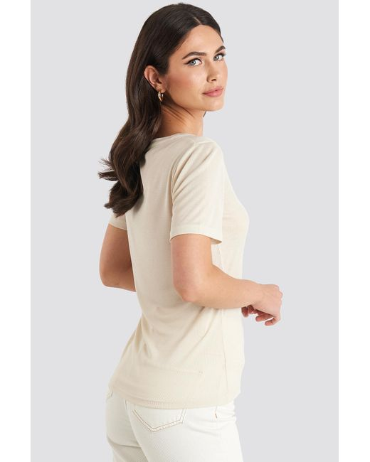 NA-KD Button Up Ribbed Top in het Natural