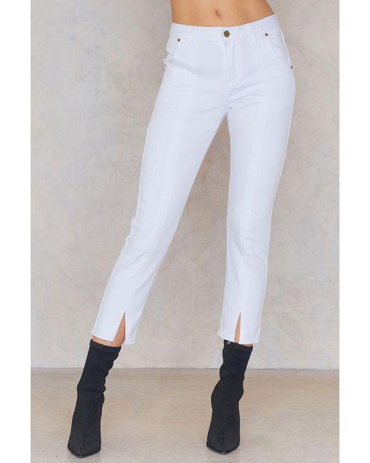 Evidnt Front Slit Denim Pants in White
