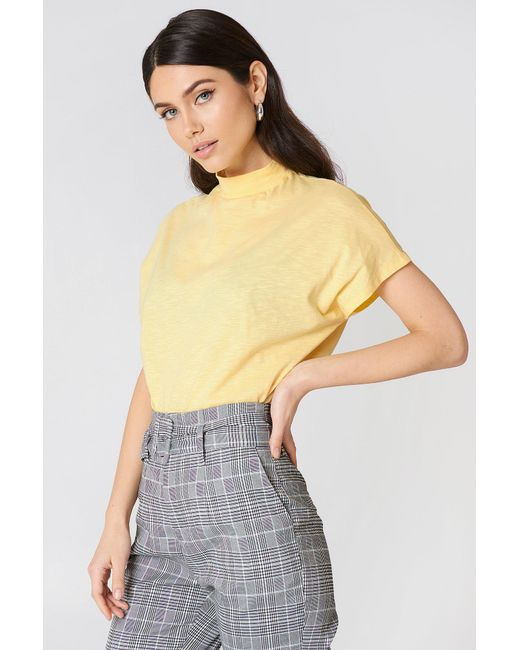 NA-KD - Yellow High Neck Cap Sleeve Top - Lyst