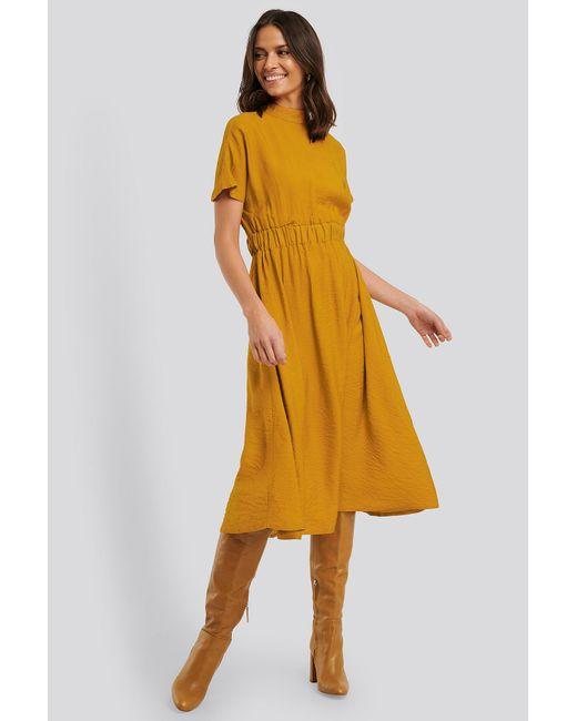 Trendyol Yellow High Neck Short-sleeve Midi Dress