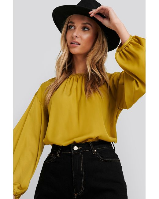 NA-KD Yellow Round Neck Peasant Blouse