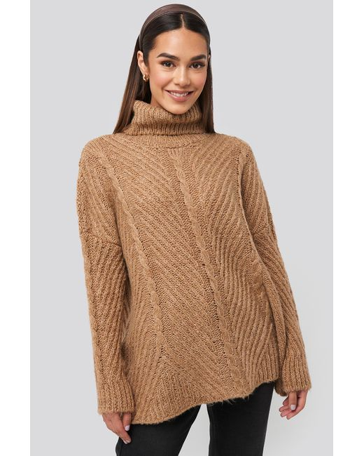 Trendyol Turtleneck Long Knitted Sweater in het Brown