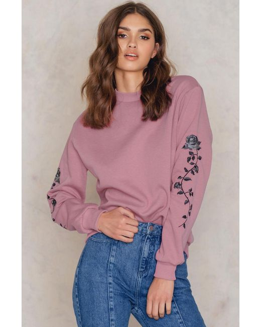 NA-KD | Pink Rose Embroidery Sleeve Sweater | Lyst