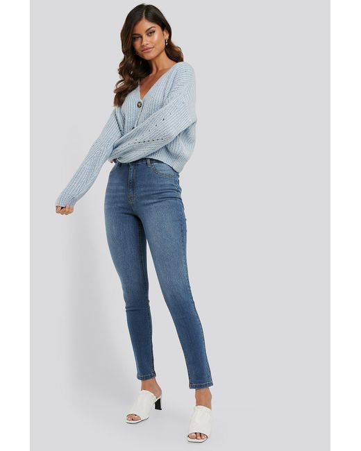 NA-KD Blue Fake Pocket Skinny Jeans