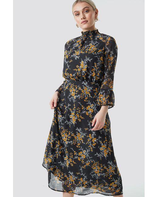 6b34cc90dfc NA-KD - Multicolor High Smock Neck Chiffon Dress Flower Print - Lyst ...