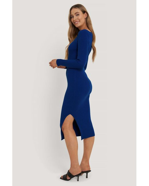 NA-KD Geribde Midi-jurk in het Blue