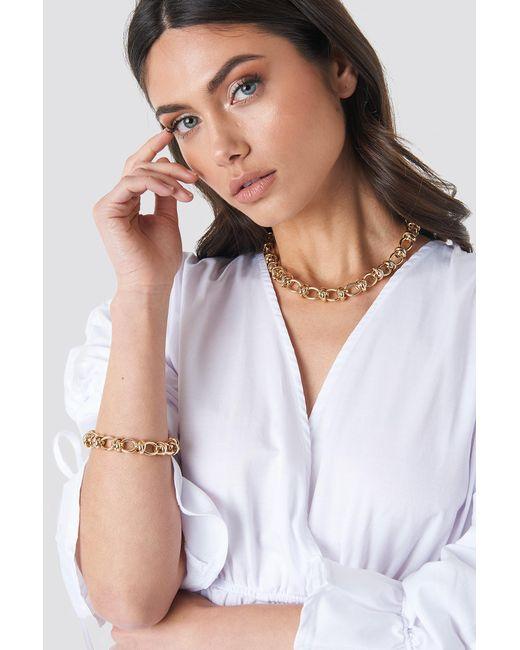NA-KD Metallic Circular Chain Necklace + Bracelet Set Gold