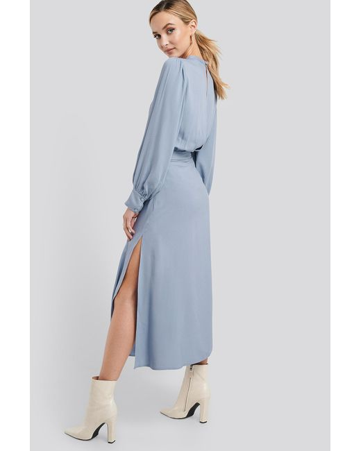 NA-KD Blue Trend High Waist Side Split Midi Skirt