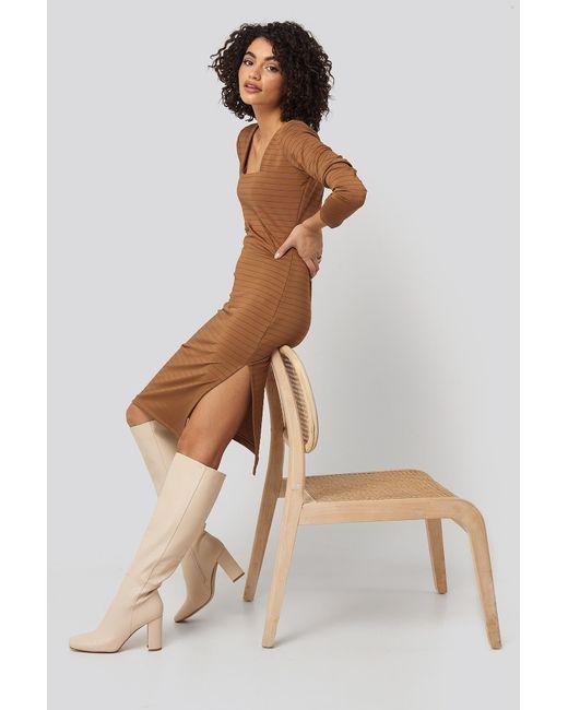 Trendyol Brown Side Slit Textured Knitted Midi Dress