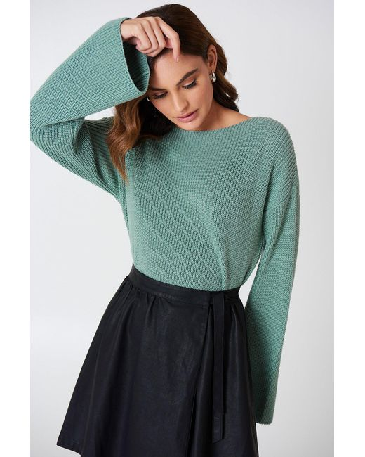 NA-KD - Green Cropped Long Sleeve Knitted Sweater - Lyst