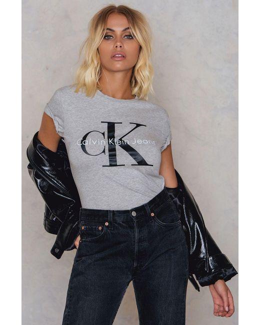 Calvin Klein | Gray Shrunken Tee | Lyst