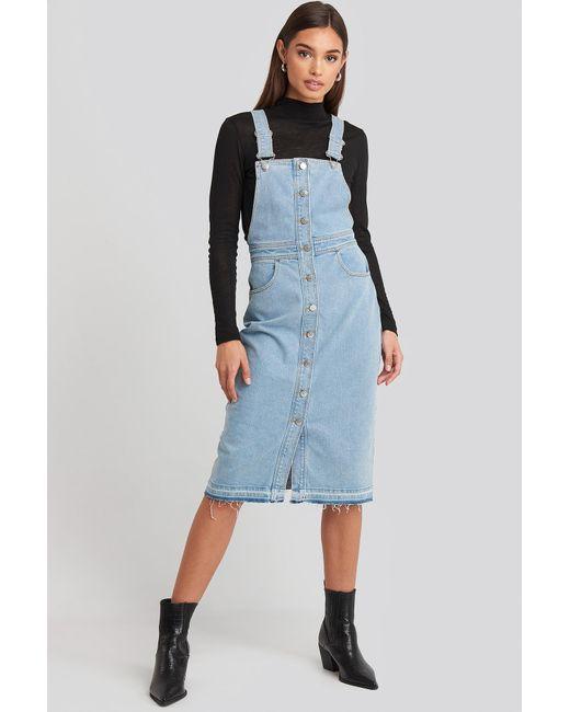 NA-KD Blue Open Hem Denim Midi Dress