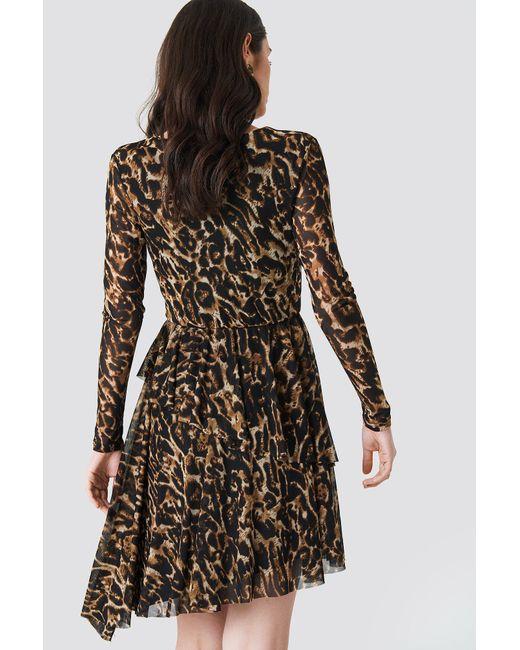 cff76979ae2 ... NA-KD - Black Flounced Overlap Mesh Dress Leoprint - Lyst ...