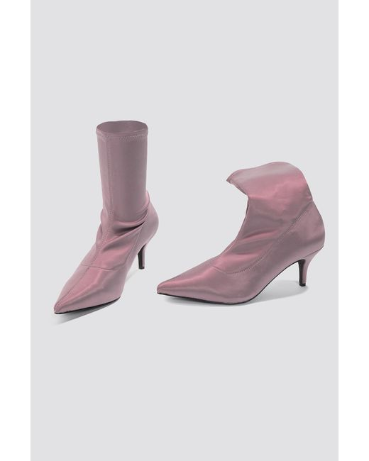 b1b7a8507b4 Lyst - NA-KD Satin Kitten Heel Sock Boots Dusty Purple in Purple ...