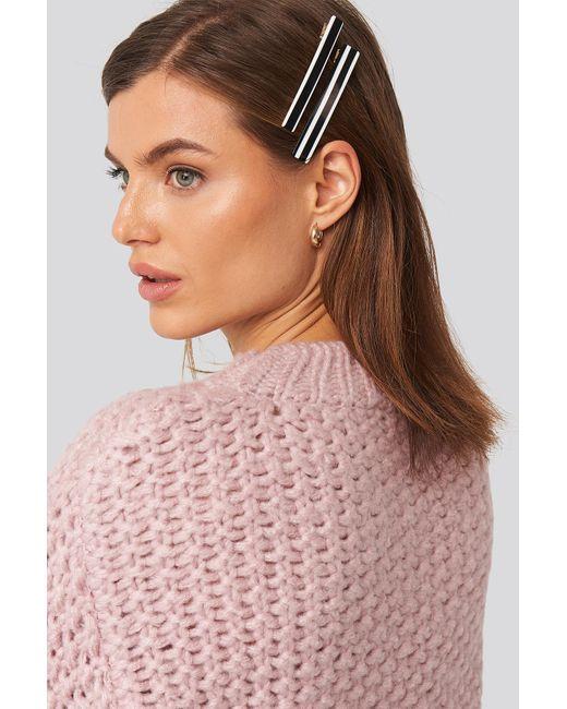 NA-KD Striped Hairclips Black