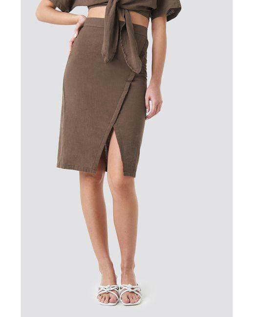 NA-KD Brown Trend Overlap Linen Look Skirt