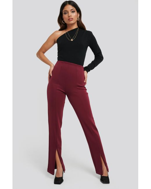 NA-KD Red Front Slit Zipper Jersey Skinny Trousers