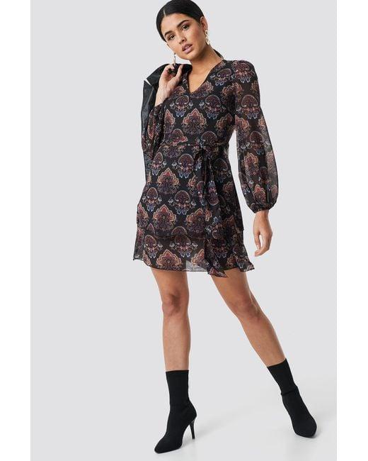 26f13eac1e ... Trendyol - Maya Printed Mini Dress Black - Lyst ...
