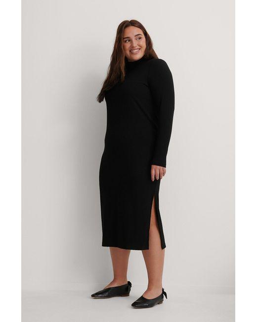 NA-KD Black Recycled Highneck Ribbed Basic Longsleeve Dress