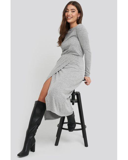 NA-KD Light Knitted Melange Dress in het Gray