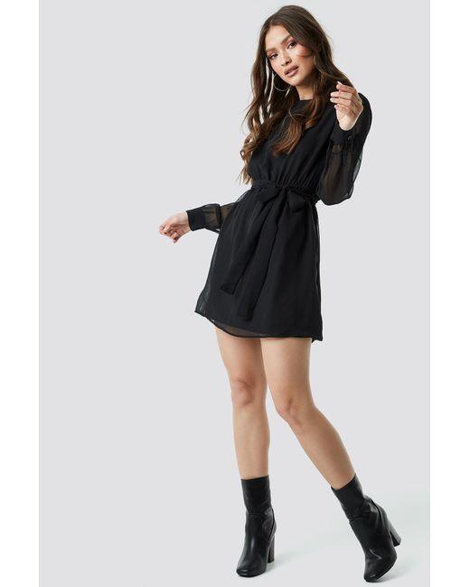 NA-KD Black Chiffon Dress