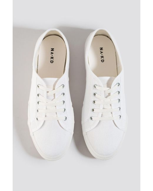 NA-KD Basic Canvas Sneakers in het White