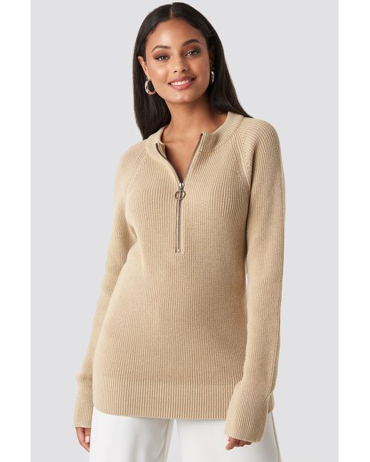 NA-KD Natural Zipper Front Knitted Sweater