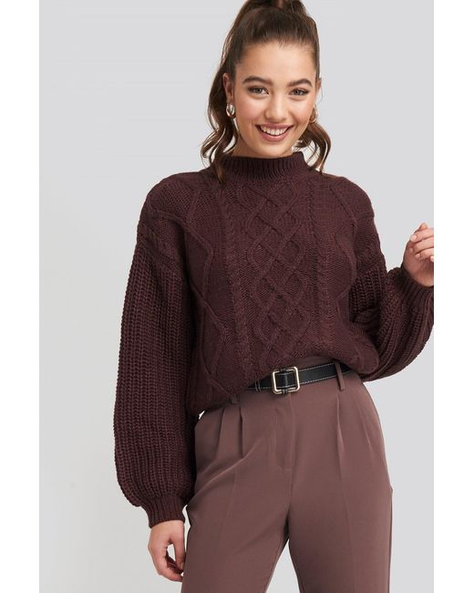 NA-KD Cable Knitted Balloon Sleeve Sweater in het Red