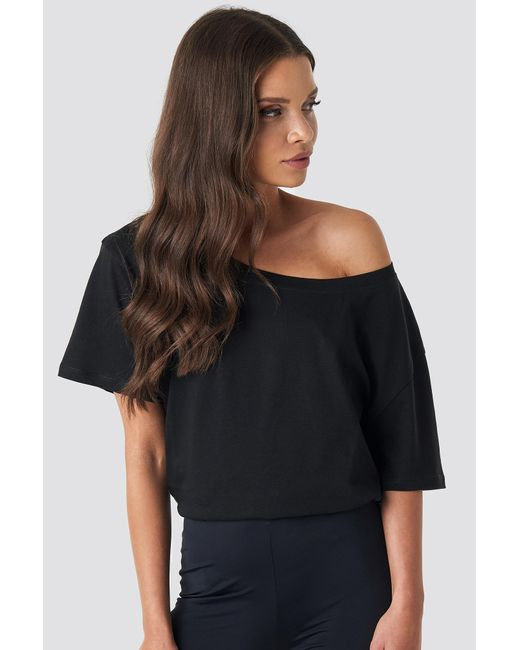 NA-KD Black Einseitig Schulterfreies T-Shirt-Kleid Mit Gürtel