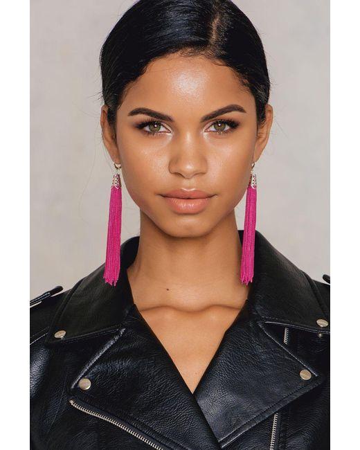 NA-KD | Pink Hanging Tassels Earrings | Lyst