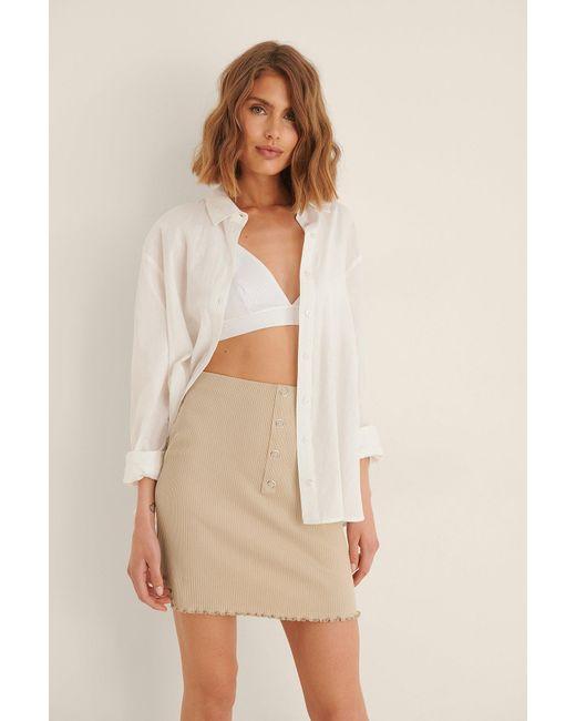 NA-KD Natural Beige Babylock Ruffle Skirt