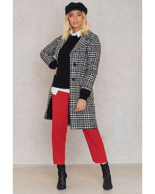 Trendyol   Black Checked Wide Collar Coat   Lyst