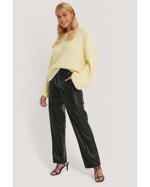 NA-KD Yellow Trend Balloon Sleeve Melange Sweater