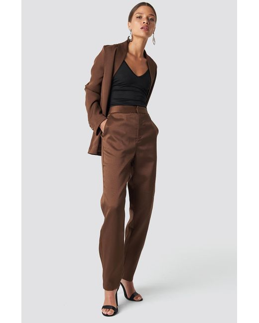 NA-KD Fitted Suit Pants Brown
